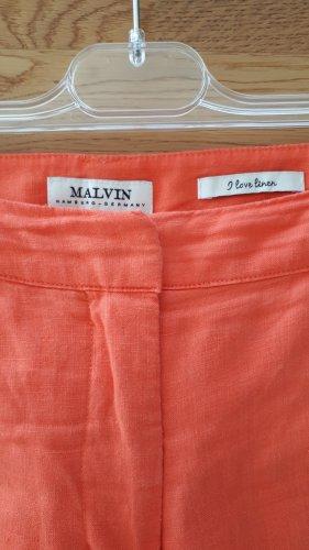 Malvin Lniane spodnie pomarańczowy