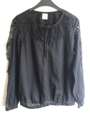 Culture Long Sleeve Blouse black cotton