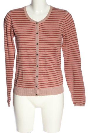 Culture Cardigan rosso-rosa motivo a righe stile casual