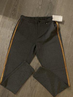 Culture Pantalon chinos gris foncé-doré polyester