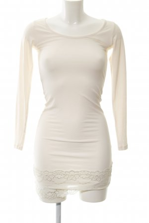 Culture Langarmkleid creme Logo-Applikation