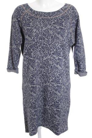 Culture Langarmkleid dunkelblau-wollweiß abstraktes Muster Casual-Look