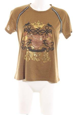 Culture Print-Shirt braun Motivdruck Casual-Look
