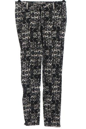 Culture Pantalone a sigaretta nero-bianco sporco stampa integrale stile casual