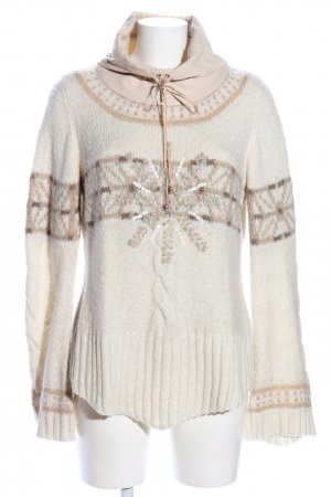 Culture Turtleneck Sweater cream-brown graphic pattern casual look