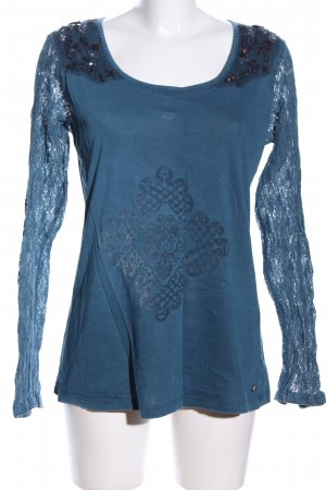 Culture Rundhalspullover blau abstraktes Muster Casual-Look