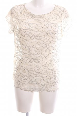 Culture Lace Top natural white flower pattern extravagant style