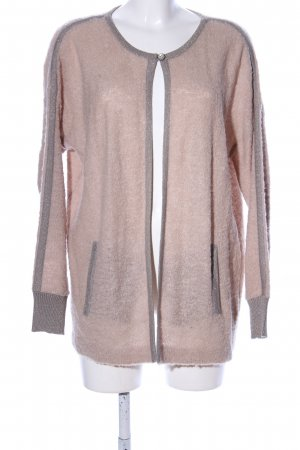 Culture Strick Cardigan silberfarben-nude Motivdruck Casual-Look