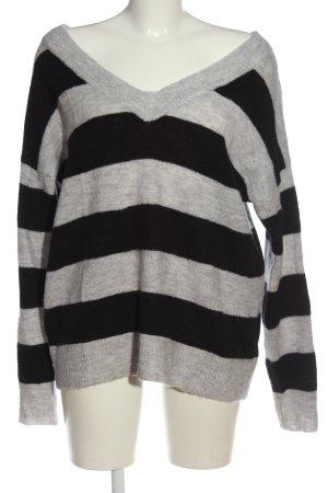 Culture Maglione con scollo a V grigio chiaro-nero puntinato stile casual