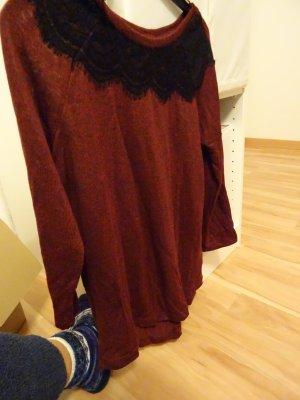 Cunda Pullover Gr. M rot mit Spitzenkragen