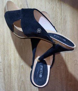 Cuplé Heel Pantolettes black leather