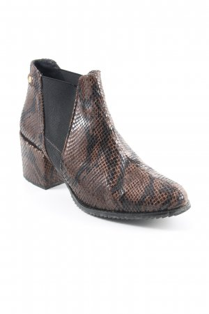 Cuplé Slip-on Booties brown-black animal pattern elastic inset