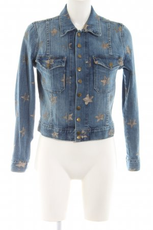 Current/elliott Denim Jacket blue-gold-colored allover print casual look