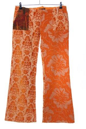 Custo Barcelona Pantalon en velours côtelé orange clair imprimé allover