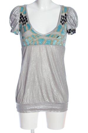 Custo Barcelona Kurzarm-Bluse abstraktes Muster extravaganter Stil