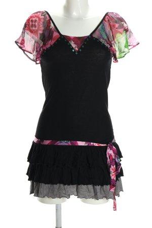 Custo Barcelona Camicetta a maniche corte nero-rosa motivo floreale stile casual