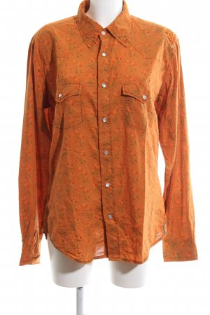 Custo Barcelona Langarm-Bluse hellorange-grün Allover-Druck Business-Look