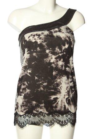 Custo Barcelona One-Shoulder-Top schwarz-weiß abstraktes Muster Casual-Look