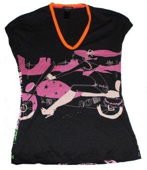 CUSTO Barcelona Shirt schwarz kurzarm Longshirt Gr. 36/38