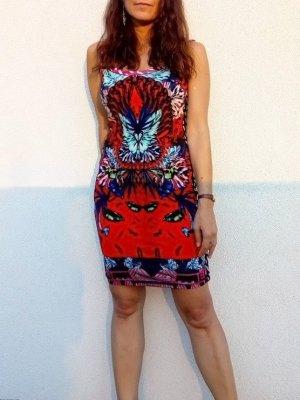 Custo Barcelona Stretch Kleid aus Viskose psychadelic, mit Jaquard-Einfassung, NEU, M 34/36/38