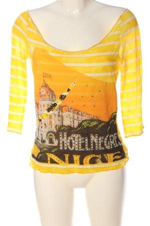 Custo Barcelona Camicia maglia giallo pallido-arancione chiaro Stampa a tema