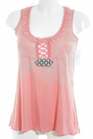 Custo Line Tank Top apricot-sage green flower pattern casual look