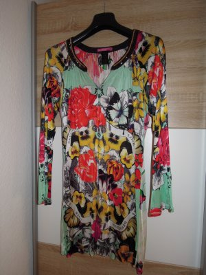 Custo Line Tunika Kleid Shirt Minikleid Langarm Gr. M bunt Pailletten floral florales Muster
