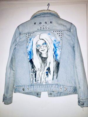 Customized Hippie/Boho Übergangs-Jeansjacke mit Fellfütterung