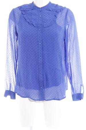 Custommade Long Sleeve Blouse steel blue-black spot pattern casual look