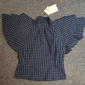 Custommade Short Sleeved Blouse dark blue-white cotton