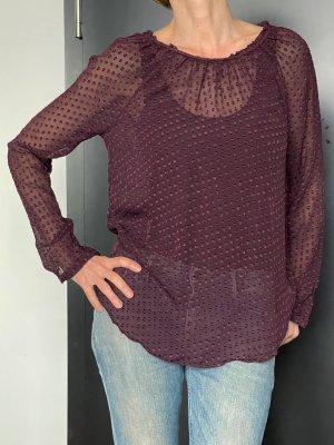 Custommade Blusa in seta bordeaux-viola