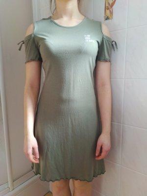 Sukienka z wycięciem zielono-szary-oliwkowy Bawełna