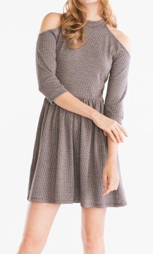 Cut out - Kleid Cold-Shoulder-Look Gr. S (36) creme schwarz rot kariert - NEU!