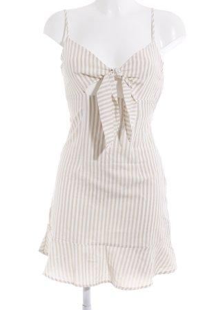 Cut-Out Kleid Sommerkleid Trägerkleid Strandkleid Minikleid Loavies Trägerkleid wollweiß-beige Streifenmuster Beach-Look