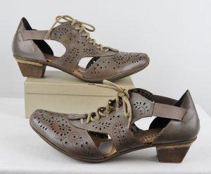 Cut Out Schnür Ankle Boots Luftig Schuhe Rieker Größe 42 Grau Braun Taupe Schnürschuhe Pumps Trotteur Sandalen Eckig