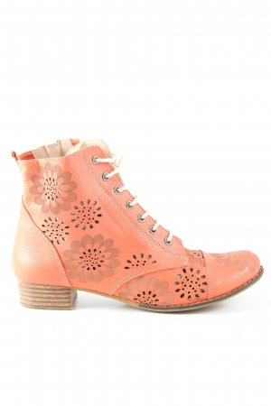Cut Out Booties light orange flower pattern casual look