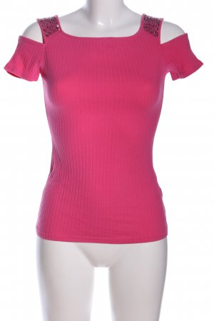 Cut-Out-Top pink Streifenmuster Casual-Look