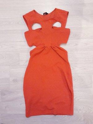 Asos Cut Out Dress dark orange polyester
