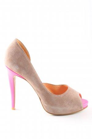 Cute Couture Escarpins à bout ouvert crème-rose style décontracté