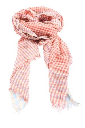 Cute Stuff Szalik z frędzlami w kolorze białej wełny-czerwony Wzór w kratkę
