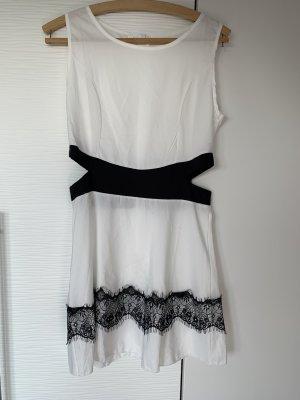 Cut out jurk wit-zwart