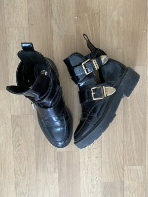 River Island Cut Out Booties black-gold-colored