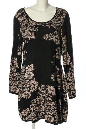 Cynthia Rowley Abito di maglia nero-crema motivo astratto stile casual