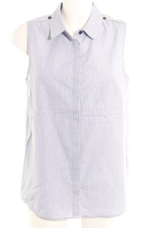 Cyrillus ärmellose Bluse dunkelblau-weiß Streifenmuster Business-Look