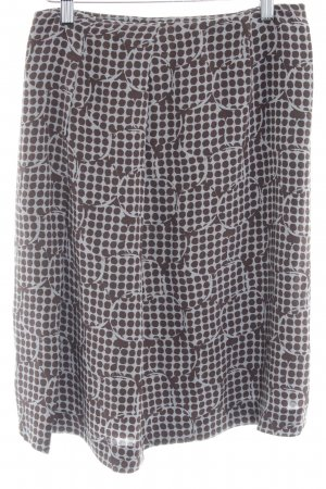 Cyrillus Plaid Skirt dark brown-grey lilac allover print business style