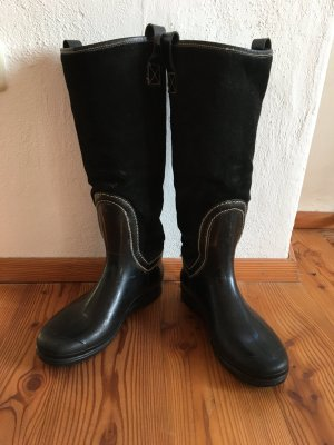 Wellies black leather