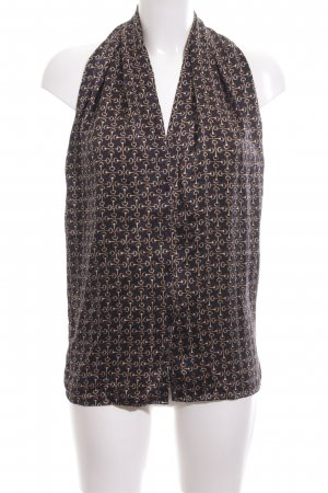D. Exterior Sleeveless Blouse black-brown abstract pattern business style