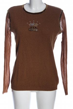 D. Exterior Crewneck Sweater brown embroidered lettering casual look