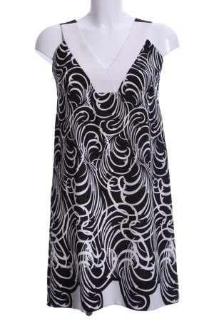 D. Exterior Pinafore dress black-white abstract pattern casual look