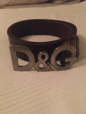Dolce & Gabbana Cintura di pelle marrone-marrone scuro Pelle